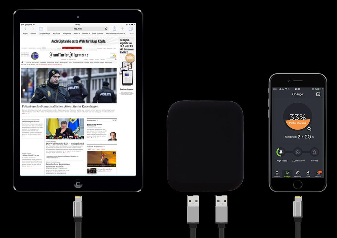 Größenvergleich iPad, iPhone und Vbee Select V2 Powerbank