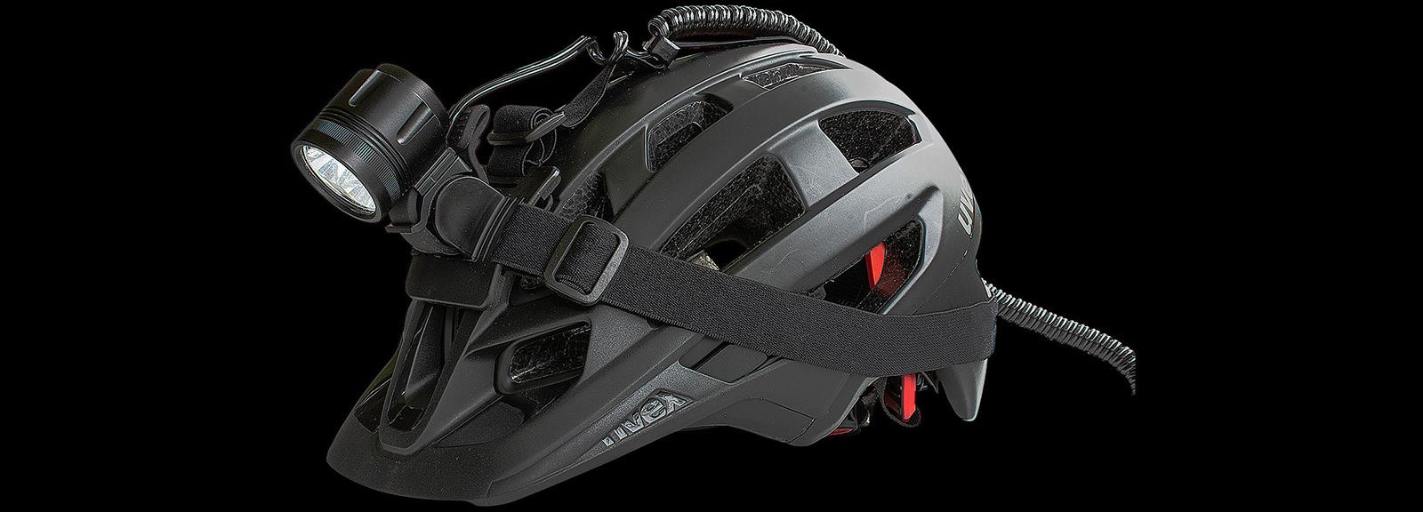 Bike light ØM3 mounted on a helmet