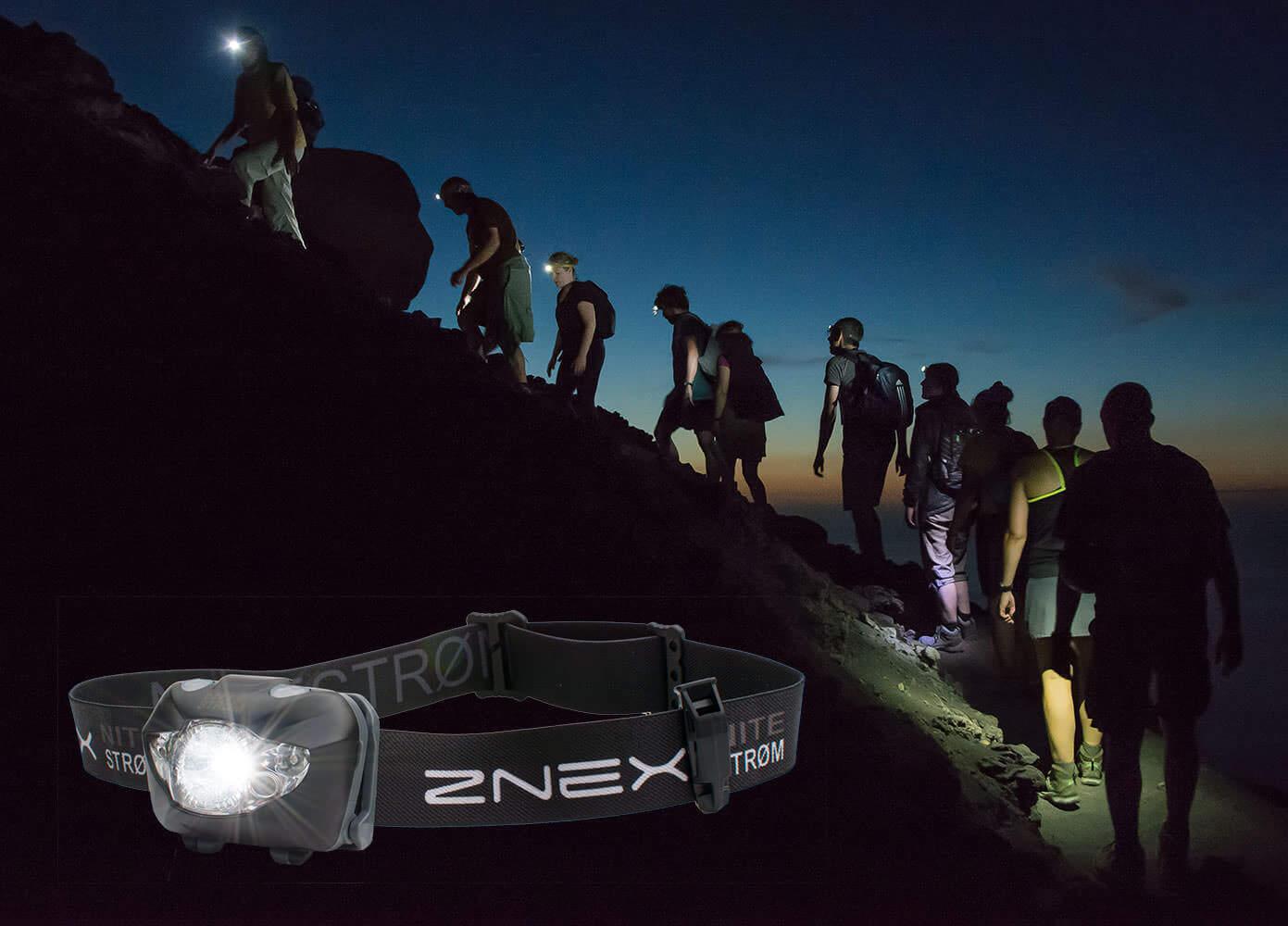 Gruppe Bergsteiger mit Nitestrøm Stirnlampen